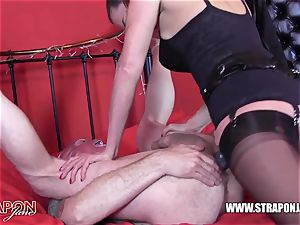 ultra-kinky sub choking and porking femdoms gigantic strap-on prick