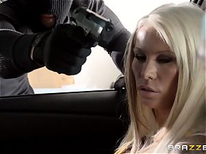 Lolly Ink pounds burglar in front of her hubby