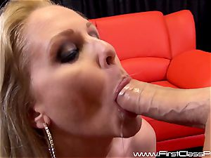 super-naughty snatch pot cougar Julia Ann deepthroating on a ginormous schlong and getting a huge blast to her fun bags