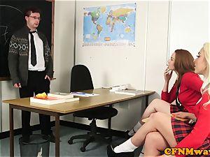 insane CFNM schoolgirls jacking uncircumcised pipe