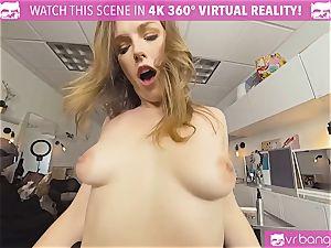 VRBangers.com Hairdresser Ella pounded hard and facial
