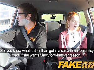 faux Driving college adorable ginger-haired Ella Hughes plumbs