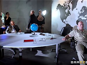 giant boobed Peta Jensen torn up throughout the boardroom table
