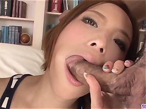 Ena Ouka gets old boy to deep poke her tiny pussy