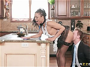super-hot black maid nearly get caught