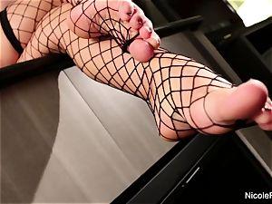 huge-titted blondie Nicole gets her marvelous feet worshipped