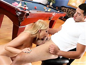 ultra-cutie Vanessa cell gets leaned over the pool table