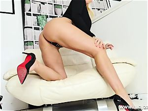 blonde cougar Lucy Zara gets bare for JOI fuck stick fucking