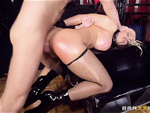 caged oiled up honey Luna star bashed ball-sac deep in the arse