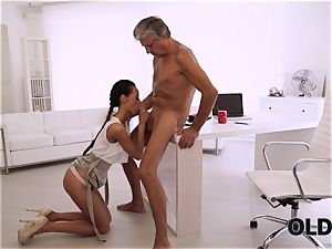 OLD4K. flawless secretary seduces elderly man to get another promotion