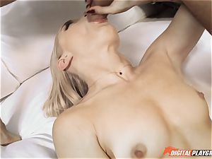 blond stunner Ash Hollywood takes down the gigantic beef whistle of Keiran