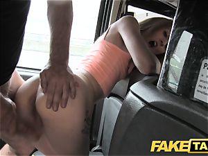 faux cab slender platinum-blonde luvs it harsh in back of cab