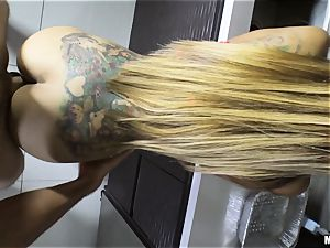 Yurizan Beltran beaten rigid after caught with the whipped splooge and dancing
