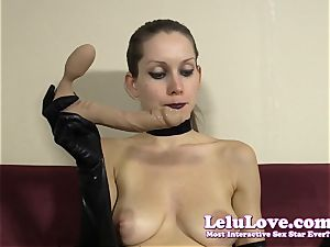 emo girl in gloves gives messy lipstick blow-job