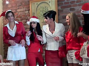 drunk office chick girl-on-girl soiree with peeing