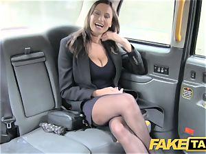 fake cab warm big-chested stunner gets humungous jizm shot