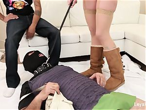 domina Leya makes him gobble her internal ejaculation