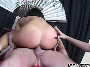fortunate boy 3some with japanese dominas