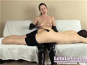 femdom spanking his donk with my hairbrush mitts..