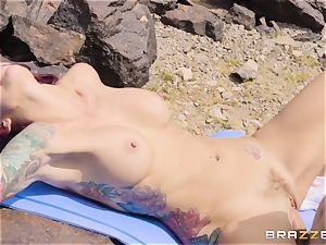 Desert yoga smash with meatpipe longing Monique Alexander