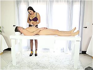 killer massagist stroking shy man