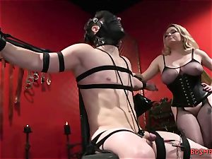 huge-chested blond mistress Gives Her marionette a hand-job
