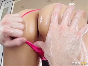 Sarah Vandella endures an oily ass fucking boinking