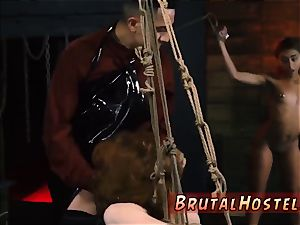 extraordinary fuck-fest playthings and climax He chains up little ebony nubile Kendall and makes her see