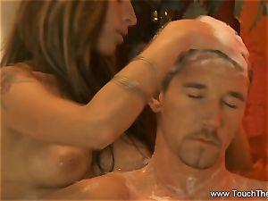 enduring Golden massage cougar platinum-blonde