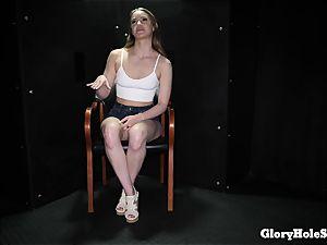 teen lady tonguing gloryhole jizm from strangers