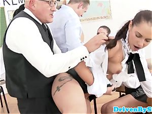 Rich college girls fuck-a-thon with masculine lecturer in class