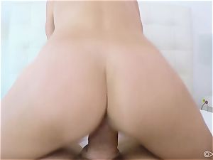 pov - platinum-blonde honey Brooke Logan choking on large man-meat