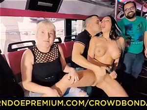 CROWD bondage - ample breasted marionette lovemaking in the party bus