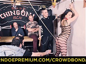 CROWD bondage - Tiffany doll gets spanked in domination & submission poke
