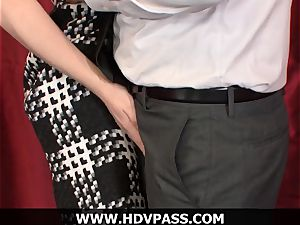 light-haired housewife Lily luvs HD blowage and doggie-style