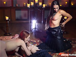 jizz gulping threesome with sumptuous Ella Hughes and stellar stunner Mea Melone