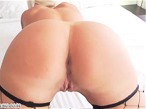 wonderful ash-blonde Nina Elle railing a large black holy schlit