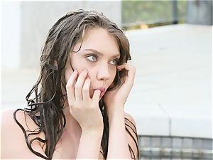 Elena Koshka fucktoys her snatch poolside