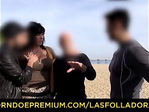 LAS FOLLADORAS - killer performer gets jizm in gullet