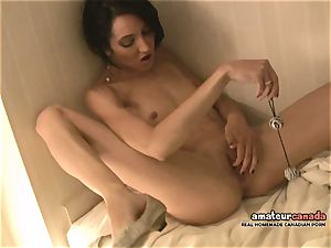 thin French girl with lil' boobs blows a load using ben