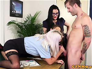 CFNM office honeys inhaling coworkers spunk-pump