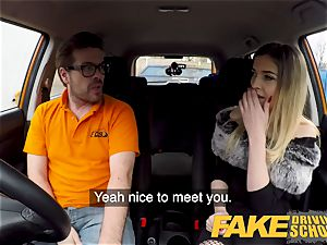 faux Driving school petite learner with diminutive breasts