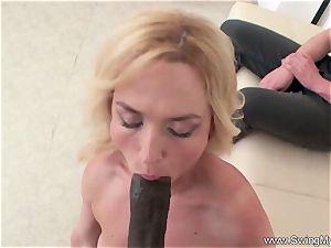 platinum-blonde German Swinger wife pummels bbc