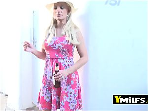 super-hot blond cougar is seduced into pulling her dress up to get poked