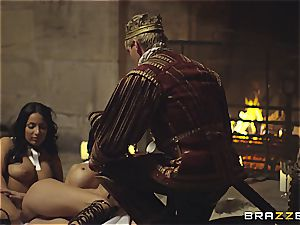 Alluring Anissa Kate and Jasmine Jae serve the king's will and pipe
