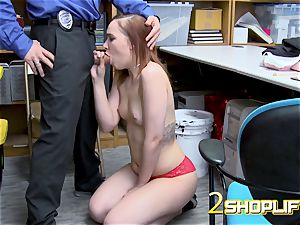 April gets down on her knees to receive officers massive shaft